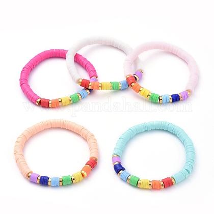 Handmade Polymer Clay Heishi Beads Stretch BraceletsBJEW-JB05160-M-1