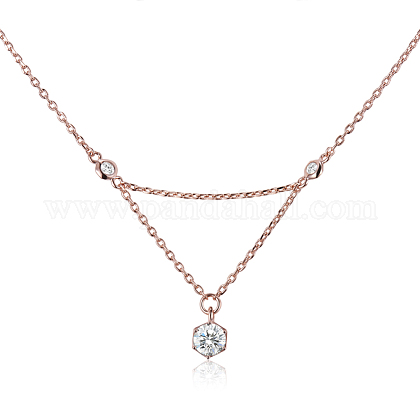 TINYSAND® Sterling Silver Hexagon CZ Rhinestone Pendant Necklaces TS-N265-RG-1