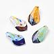 Handmade Dichroic Glass Big Pendants, Leaf, Mixed Color, 62x33mm, Hole: 10mm