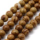 Natural Wood Lace Stone Beads Strands, Round, 10mm, Hole: 1mm; about 38pcs/strand, 14.9''(38cm)
