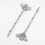 Tibetan Style Alloy Bookmarks, Antique Silver, 135x42x3mm