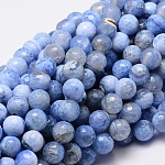 Dyed Natural Agate Faceted Round Beads Strands, CornflowerBlue, 10mm, Hole: 1mm; about 38pcs/strand, 14.5inches