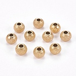 304 Stainless Steel Textured Beads, Round, Golden, 6x5mm, Hole: 2mm