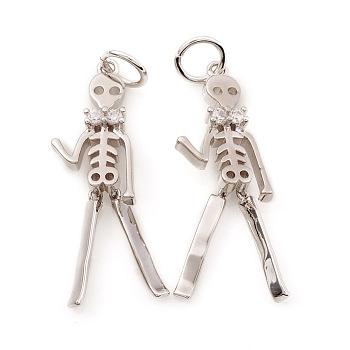 Кулоны из латуни на Хэллоуин с кубическим цирконием, с целью перехода в кольце, скелет человека, прозрачные, Реальная платина, 24x7.5x3 мм, отверстие : 3.5 мм