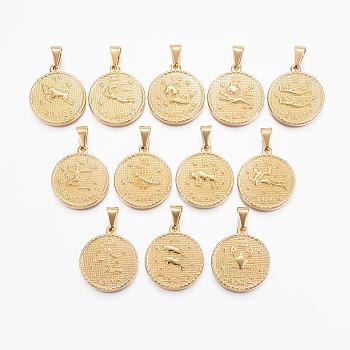 304 Stainless Steel Pendant Sets, Flat Round with Twelve Constellation/Zodiac Sign, Golden, 29x25x3.2mm, Hole: 9x4.5mm; 12pcs/set