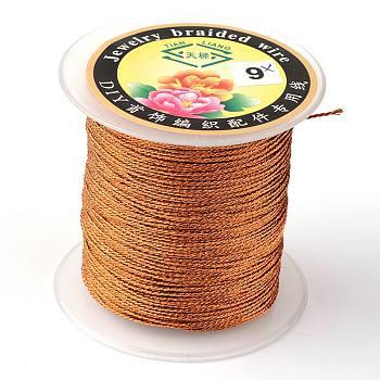 Runde metallic-Kabel, Einlagig, Schokolade, 12 mm; ca. 1 m / Rolle