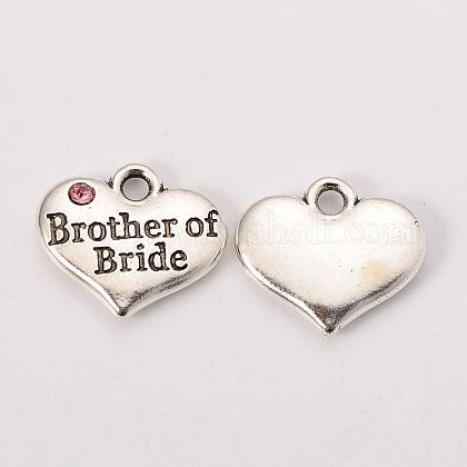 Свадьба поставок партия античный серебряный сплав горный хрусталь сердце резные слово брат семейных прелестей невесты свадебныеX-TIBEP-N005-27C-1