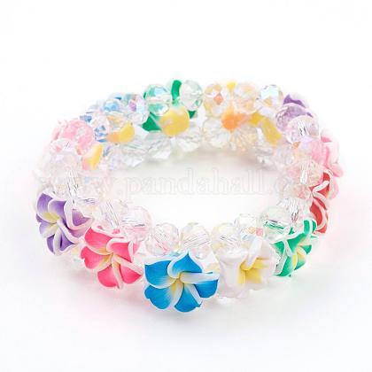 AB Color Plated Glass Bead Multi-Strand Stretch BraceletsBJEW-JB03308-1