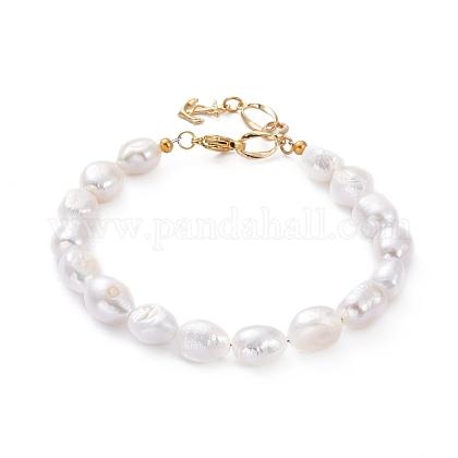 Pulseras de perlas keshi con perlas barrocas naturalesBJEW-JB05262-1