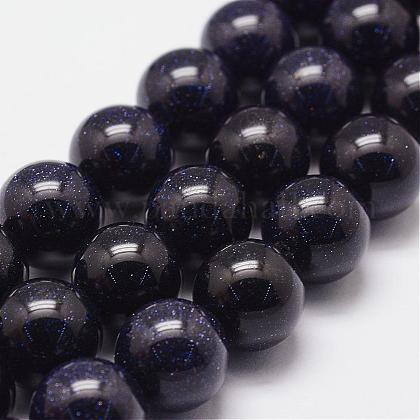 Synthetic Blue Goldstone Beads StrandsG-N0178-03-12mm-1