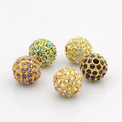 Golden Tone Alloy Grade A Rhinestone Beads RB-J298-12mm-G-1