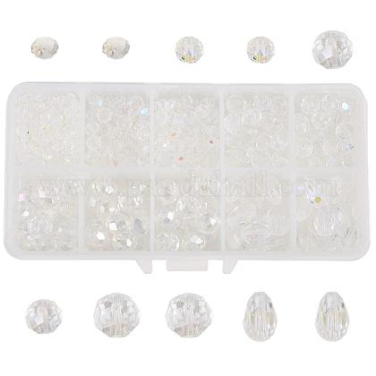 SUNNYCLUE 1 Box 600+Pcs Clear White Rondelle Glass Beads for Jewelry Making AB Colour Rondelle Drop Flat Round Shape Crytal Spacer Beads Supplies for Bracelet Necklace Pendants Charms MakingEGLA-SC0001-01A-1