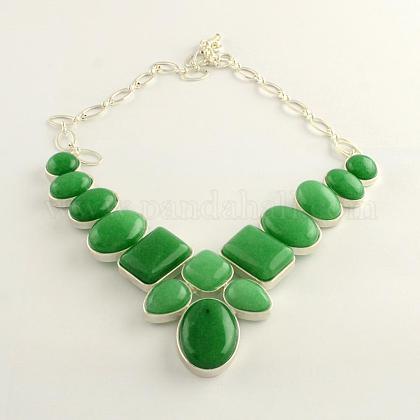 Collares con declaración de babero de piedras preciosas de jade de malasia natural con montura de aleación de cabujón y cadenas de latón chapado en color plateadoNJEW-R224-02E-B-1
