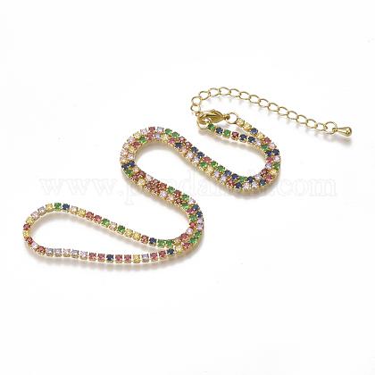 Collares de cadena de latón con circonitas cúbicas (colores mezclados al azar)NJEW-S418-01-1