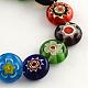 Flat Round Handmade Millefiori Glass BeadsLK-R004-53-1