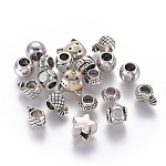 Tibetan Style European Beads, Mixed Shapes, Antique Silver, 9~14x8.5~12x5~8mm, Hole: 3~4mm