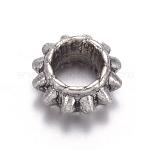 Perlas espaciadoras de plata tibetana, sin plomo y el cadmio, rerondana plana, plata antigua, aproximamente 4 mm de largo, 6 mm de ancho, agujero: 2.5 mm