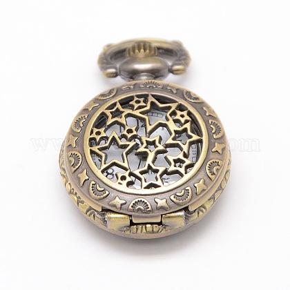 Redondas plana de aleación estrella tallada cabezas reloj de cuarzo hueco de la vendimia para el reloj de bolsillo el collar del colganteWACH-M109-07-1