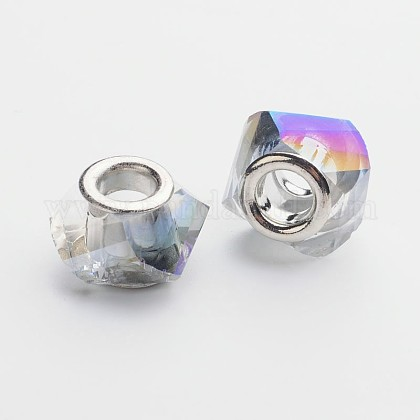 Faceted Electroplated Glass European Large Hole BeadsGPDL-F011-02-1