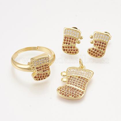 Colgantes de latón circonita cúbica y aretes y anillos ajustables conjuntos de joyasSJEW-S043-08-1