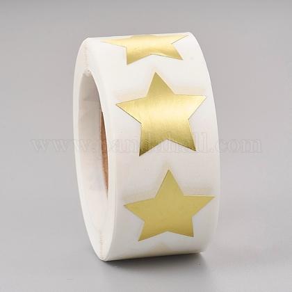 Etiquetas adhesivas de papel con forma de estrella de lámina metálicaDIY-E023-03-1