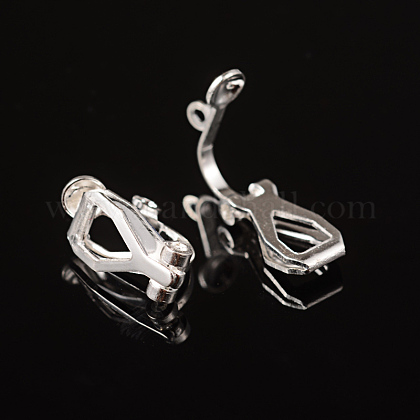 Brass Clip-on Earring Findings for Non-Pierced EarsX-EC109-S-1