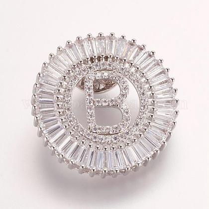 Brass Micro Pave Cubic Zirconia BroochesJEWB-P005-B-P-1