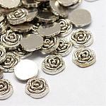 Сплав кабошонов, Плавающие подвески, diy для плавающих медальонов, цветок, платина, 7.5x7x2 мм