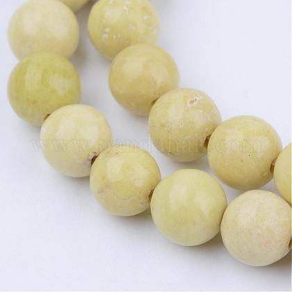 Naturelles jaune moutarde jaspe brins de perlesG-Q462-8mm-39-1