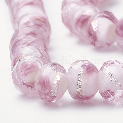 手作り銀箔ガラスランプワークビーズ連売りLAMP-R141-8mm-14-1