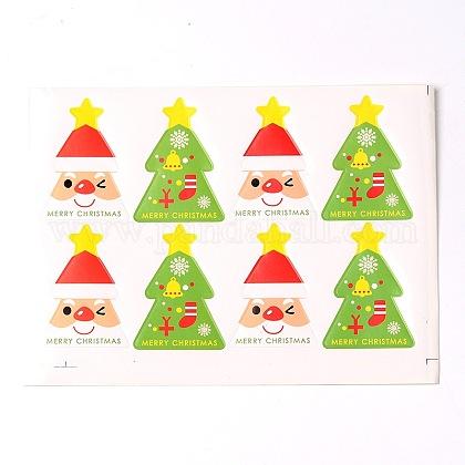 Modelo del árbol de navidad de la etiqueta DIY pegatinas ilustradas parcheAJEW-L053-09-1