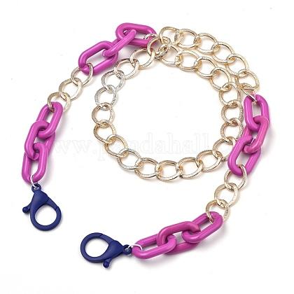 Collares de cadena de aluminio y acrílico personalizadosNJEW-JN02911-04-1