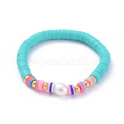 Handmade Polymer Clay Heishi Beads Stretch BraceletsBJEW-JB05089-05-1