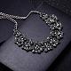 Mujeres de la moda de joya de zinc collares del collar de rhinestone de cristal de aleación babero declaración gargantillaNJEW-BB15143-D-7