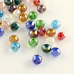 Electroplate Faceted Rondelle AB Color Plated Transparent Glass Beads, Mixed Color, 4x3mm, Hole: 1mm