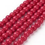 Natural Mashan Jade Round Beads Strands, Dyed, Red, 4mm, Hole: 1mm; about 98pcs/strand, 15.7