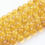 Natural Quartz Crystal Beads Strands, Round, Dyed & Heated, Gold, 8mm, Hole: 1mm; about 24pcs/strand, 8