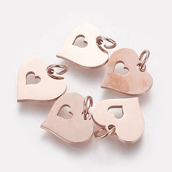 Colgantes de 304 acero inoxidable, corazón con el corazón, oro rosa, 12x12.5x1mm, agujero: 3 mm
