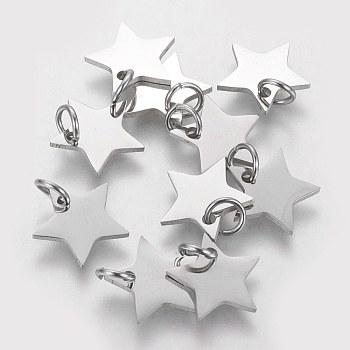 Breloques en 304 acier inoxydable, étoiles du nord, couleur inoxydable, 11x12x1.1mm, Trou: 4mm