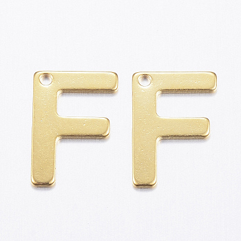 304 charms in acciaio inox, letter.f, oro, 11x8x0.8mm, Foro: 1 mm