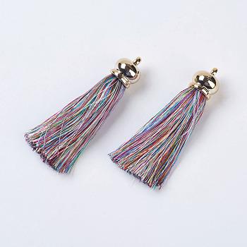 Pendentifs de gland de polyester, avec les accessoires acryliques, gros pendentifs, colorées, 75~80x15.5mm, Trou: 3mm