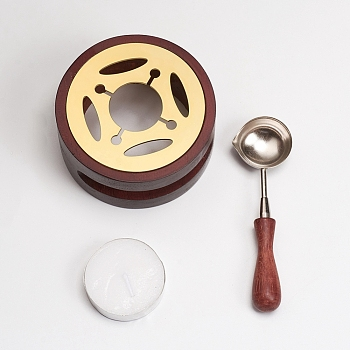 Wax Seal Stamp Sets, with Wood Wax Furnace and Wax Sticks Melting Spoon Tool, Mixed Color, Packing Box: 10x10x7cm, 3pcs/box