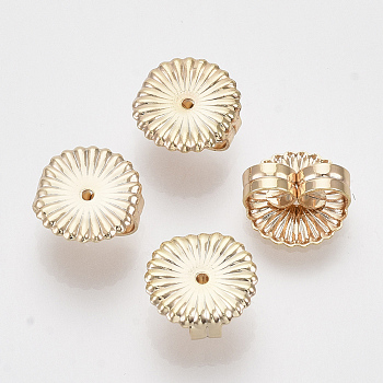 Brass Ear Nuts, Earring Backs, Nickel Free, Flat Round/Flower, Real 18K Gold Plated, 9.5x9x4.5mm, Hole: 1mm