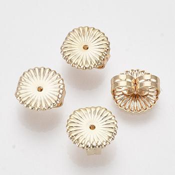 Tuercas de oreja de latón, pendiente trasero, sin níquel, plano y redondo / flor, real 18k chapado en oro, 9.5x9x4.5mm, agujero: 1 mm