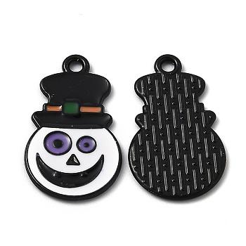 Подвески из эмали и сплава, за день Хэллоуин, гримаса, красочный, электрофорез черный, 25x14.5x1.2 мм, отверстие : 1.8 мм