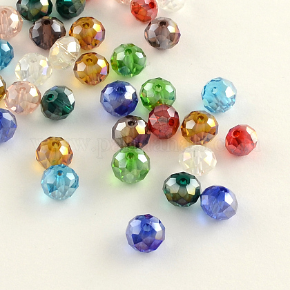 Electroplate Faceted Rondelle AB Color Plated Transparent Glass Beads GLAA-R152-4mm-M2-1