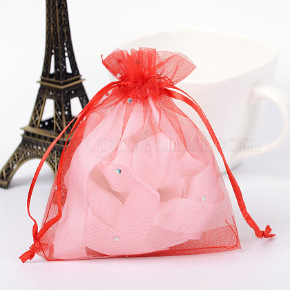 Rectangle Organza Bags with Glitter SequinsOP-R020-10x12-02-1