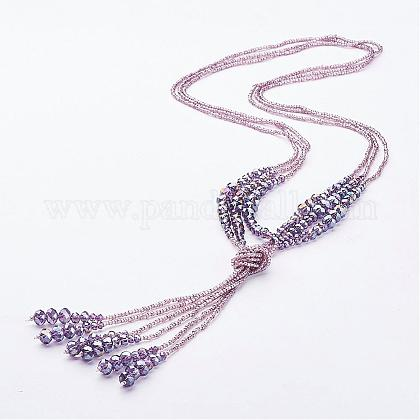 Glass Beaded Lariat Necklaces NJEW-A125-A001-1