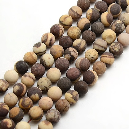 Chapelets de perles rondes en jaspe zèbre mat naturelG-M064-8mm-03-1