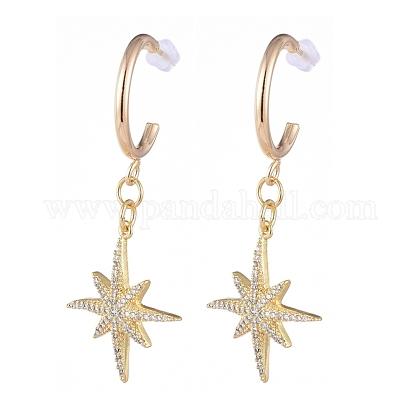 Brass Dangle Stud EarringsEJEW-JE04112-02-1